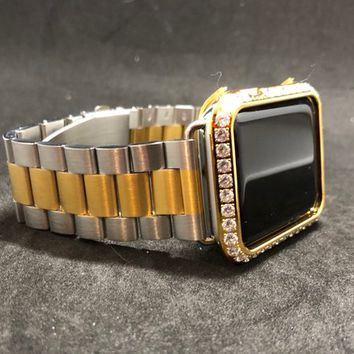 Apple Watch Band 38mm 40mm 42mm 44mm Series 1 2 3 4 Womens Mens Silver/Gold Two Tone Stainless/Iced Out Gold Bezel Case Cover 3mm Diamonds