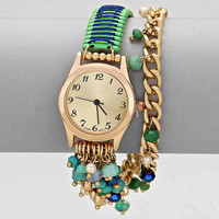 Turquoise Woven Beaded Chain Watch