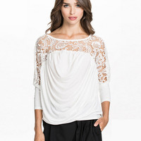 White Long Sleeve Lace Ruched Shirt