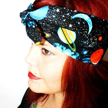 Vintage Inspired Head Scarf, Bandana Style, Solar System, Planets, Celestial