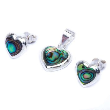 Abalone Shell Heart Earrings & Pendant Jewelry Set