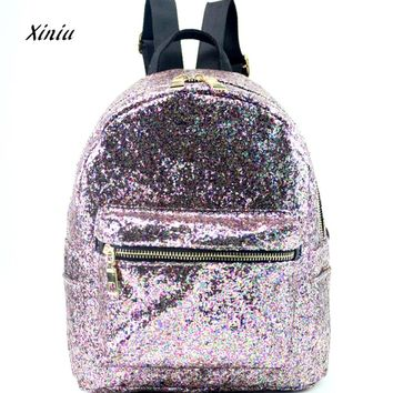 High Quality Women's Shinning Glitter Bling Backpack Women Fashion School Style Sequins Travel Satchel School Bag Backpack Bag