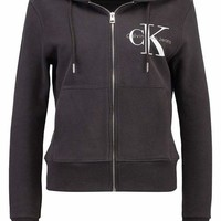 CK Calvin Klein Fashion Sport Leisure Zip Cardigan Jacket Coat Sweatshirt Black