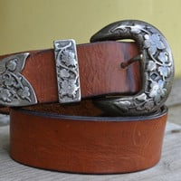 Vintage 90's Country Western Grunge Engraved Floral Buckle Ranger Set Belt Set
