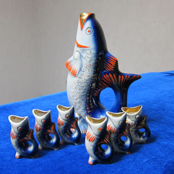 VINTAGE Porcelain Figurine Soviet  Fish - Decanter and 6 Cognac Glasses Polonsky ZHK 1970 ussr