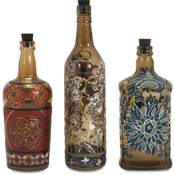 Reclaimed Hand-painted Bottles - Set of 3 - Free Shipping!