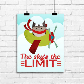 sky's the limit airplane decor, airplane nursery wall art, boy nursery art print, aviator art print for boys, owls nursery art print, kids