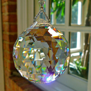 "Simplicity VENTI - Huge 50mm Swarovski Crystal Suncatcher, 11"" Long"