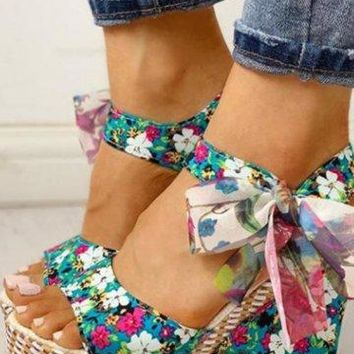 Floral Wedge Sandals - 3 Colors