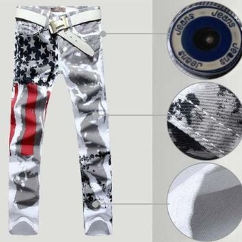 Mens usa flag white jeans painting color printing stripe cotton stretch straight denim overalls men plus size 44 46