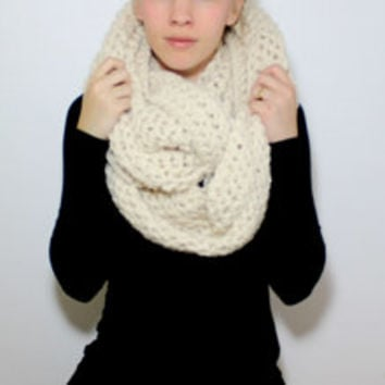 "The ""Paris"" Crochet Large Infinity Scarf - Cream Tan - Custom Requests Accepted"