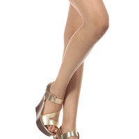 Gold Faux Leather Cut Out Buckle Up Wedges