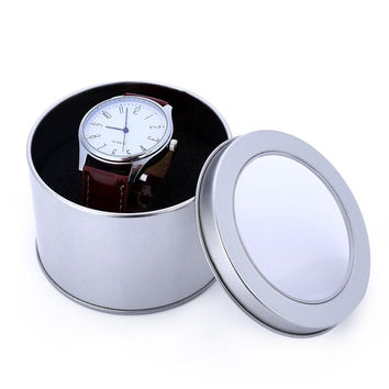 2016 Hot Sales Watch Box Paper/Tin Plate Watch Case Gift Box 60*90mm Round Tinplate Watch Box With Transparent Lid