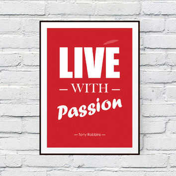 Printable Poster, Live with passion, Instant Digital Download, Fashion wall art decor, printable sign, bedroom decor, decor office, stripe