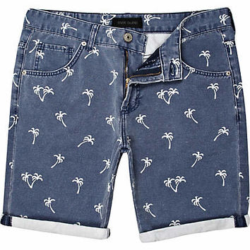 Navy palm tree print shorts - denim shorts - shorts - men