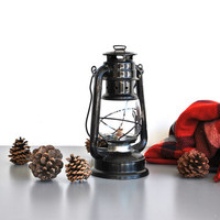 Vintage Black Lantern - Winter Cabin Home Decor