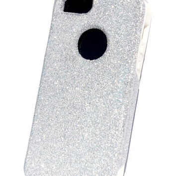 Custom iPhone 5 Glitter Otterbox Commuter Cute Case, Custom Glitter Silver / White Otterbox Color Cover for iPhone 5