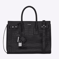 NWT Yves Saint Laurent small supple Sac De Jour black croc leather bag Rtl $3150