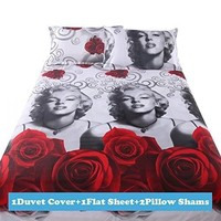 Bedding sets 3D Bedclothes Black Duvet cover sets queen size Bed linen bed sheet sets bed sheet (Size: Queen)
