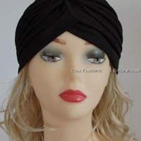 Womens Black Head Turban By CoverYourHair®