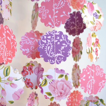 Scalloped Paper Garland, Purple and Pink Bunting, Flower Photo prop, Pink and Purple Banner, Paper Flower Bunting