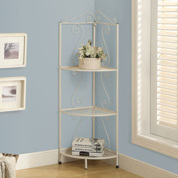 "Bookcase - 48""H - White Hammered Metal Corner Etagere"