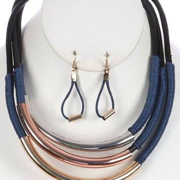 Blue Three Layer Wrapped Cord Bib Necklace And Earring Set