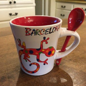 7Set Barcelona Spain Salamander Coffee Mug Spoon in Handle Cup Red EUC