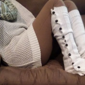 Ivory Button Lace Leg Warmers w/Ivory Knit Lace Boot Covers