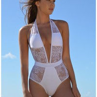 Sexy White/Black Lace One piece Swimsuits XXL Bathing Suits Ladies High Cut Monokini