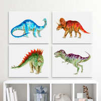 Canvas Dinosaur Art Print Set