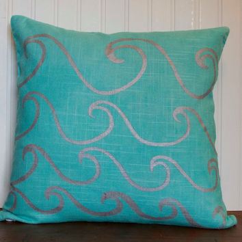 "Blue Pillow Cover- 16""x16"" Aqua Blue Decorative Throw Pillow Cover with Screen Printed Wave Design, Silver Waves"