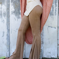 Like A Glove Bells Camel Suede Bell Bottoms