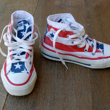 SALE Vintage American Flag Converse Stars and Bars Converse All Star Sneakers Retro  Made in the USA - Rare Vintage 80's Youth  Size
