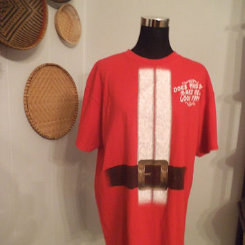 oversized RED Santa Suit Tshirt Ugly Sweater Party XL ~ Does This Suit Make me Look Fat ?