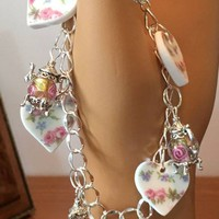 Alicia China Heart and Sterling Teapot Bracelet
