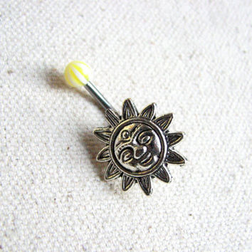 Sun Belly Button Jewelry Ring - Non Dangle Belly Bar, Sunny Navel Piercing, Yellow and Silver Bellybutton Ring, Short Belly Button Rings
