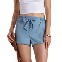 Lt Wash Denim Denim Chambray High-Waisted Shorts by Charlotte Russe