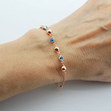 Handmade Evil Eye Bracelet, Rose Gold Plated Sterling Silver
