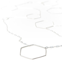 Sterling Silver Extra Long Hexagon Necklace -