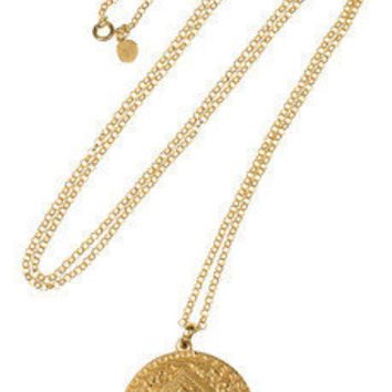 Monica Vinader | Marie 18-karat gold-plated disc necklace | NET-A-PORTER.COM