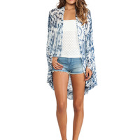 Free People Woven Fringe Poncho in Blue