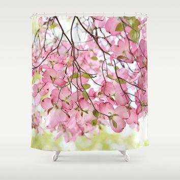 pink dogwoods Shower Curtain by Sylvia Cook Photography