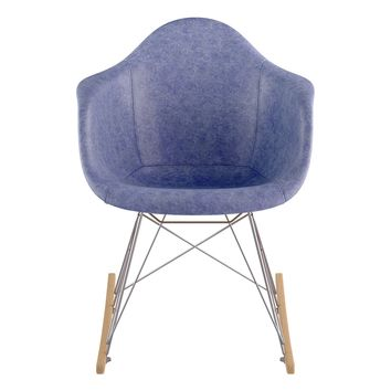 Mid Century Rocker Chair Weathered Blue