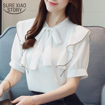 2018 new summer sweet bow  blouse shirt chiffon women clothing short sleeved blouses peter pan collar women clothing 0540 40