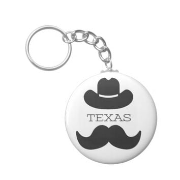 Texas in White Keychain