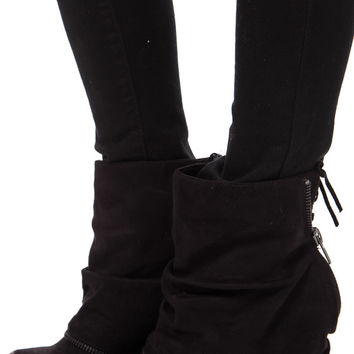 Black Suede Zipper Overlay Wedge Bootie