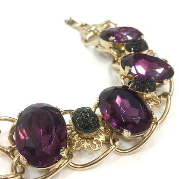 Amethyst & Gold Bracelet, Chunky Fashion Bracelet, Gold Filigree and Glass Black Flowers, Kafin New York, 1950s Vintage Statement Jewelry