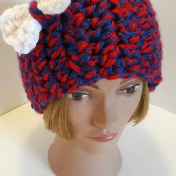 Red and Blue Crochet Kansas Jayhawks ear warmer with a White Bow!