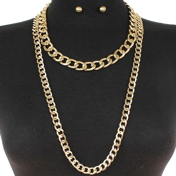 "18""  33"" gold multi layered chain necklace .50"" earrings 2 separate necklaces"